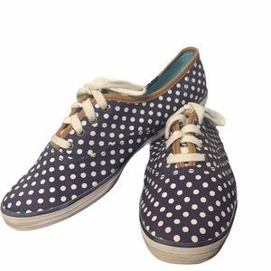 Keds Blue and White Polka Dot Lace Up Sneakers